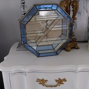 Mirrored wall shelf gold etched bird design vintage shadow box hanging vanity